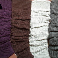 Ladies Pair Knee High Leg Socks Winter Long Legging Women Girls Warmers Colors
