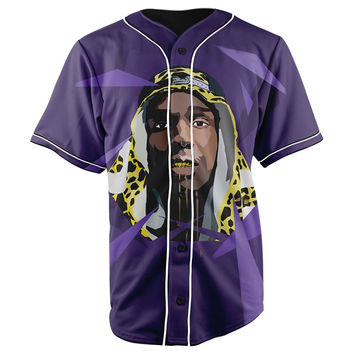 Asap Rocky Purple Button Up Baseball Jersey
