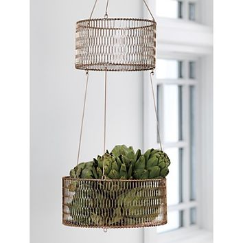 2-tier copper basket