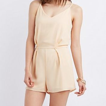 LACE-BACK TEXTURED ROMPER