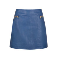 Leather mini skirt - Bright Blue | Skirts | Ted Baker ROW