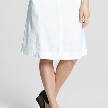 Women's Eileen Fisher Organic Linen Knee Length Skirt (Online Only)