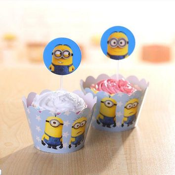 24pcs Minions Theme Birthday Party Ideas Supplies For Minions Party Favors Baby Shower Decorations Minion Cupcake Toppers