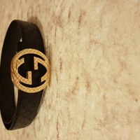 mens gucci belt GOLD BUCKLE