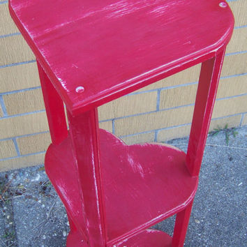 Vintage Upcycled Red 3 Heart Table...Shabby Style...Plant Stand...Occassional Table...Chippy Distressed Patina...Heart Shelf...Cottage Porch