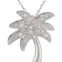 10k White Gold Diamond Palm Tree Pendant Necklace (0.05 cttw, I-J Color, I2-I3 Clarity), 18""