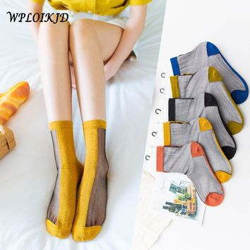 [WPLOIKJD]Half Cotton Half Glass Silk Transparent Socks Harajuku Japanese Art Lace Socks Women Mesh Sexy Meias Calcetines Mujer