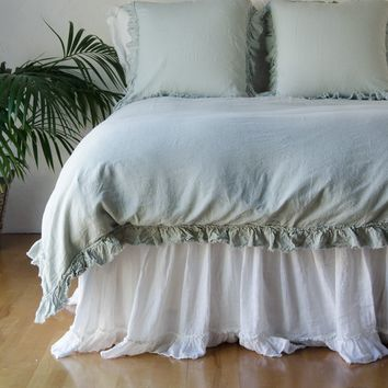 Corrina Linen Duvet Cover with Bias Raw Ruffle in CELADON