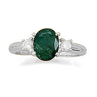 Rough-Cut Emerald and Cubic Zirconia Ring