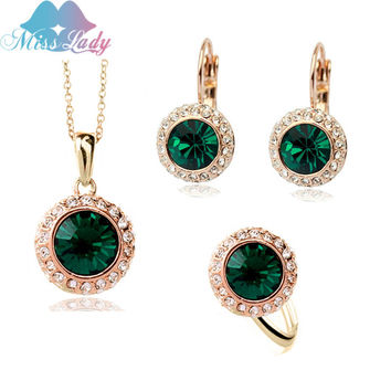 Miss Lady summer Gold color Rhinestone Vintage Moon River Crystal Bridal Jewelry Sets Fashion Jewelry for women MLK58082