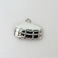 Vintage Sterling Silver Drum Charm, Enamel Musical Instrument Charm