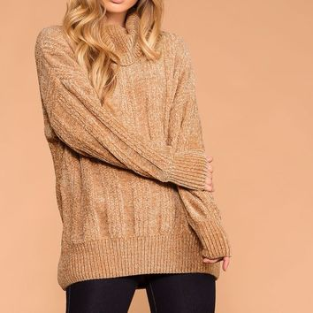 Maureen Mocha Chenille Knit Turtleneck Sweater