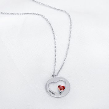 """Forever"" Personalized Birthstone Necklace"