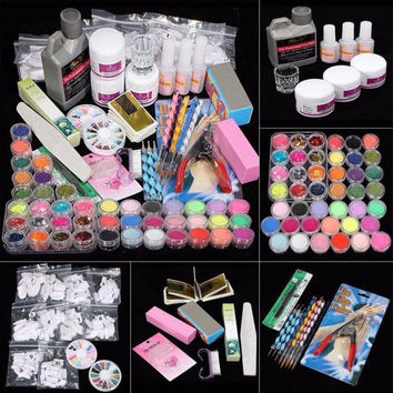 2017 Professional 42 Acrylic Nail art Tips Beauty Powder Liquid Brush Glitter Clipper Primer File Set Kit Nail art decorations