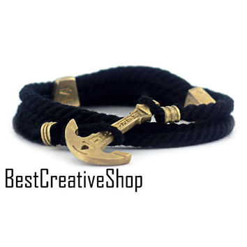 Anchor Bracelet / Black Bracelet / New MARITIME Collection / Wrap Bracelet / Sea Bracelet / Rope Bracelet / Wooden Box / Adjustable Size