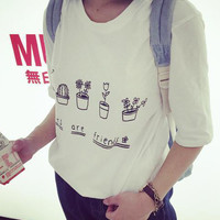 White Floral Letter Print Short Sleeve Graphic Tee