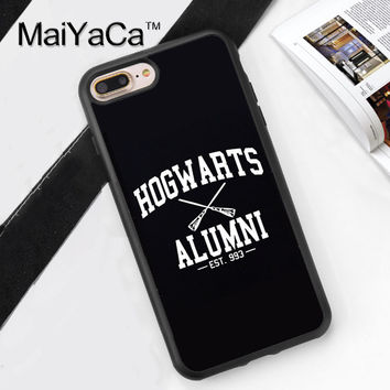 Hogwarts School Logo Harry potter Soft TPU for iPhone 7 7Plus for iPhone 6 6S Plus 5 5S 5C SE 4S Soft Rubber Phone Back Cover