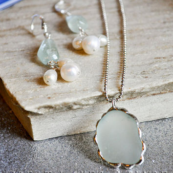 Beach Glass Pendant, Soldered Glass Pendant, Seaglass Pendant, Aquamarine and Pearl Earrings, Beach Glass Jewelry, Earring and Pendant Set