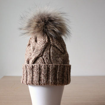 Fur pom pom hat, Raccoon fur hat, Cashmere Wool hat, Fur bobble hat, Braided cable knit hat, Apres ski hats, Sand Beige