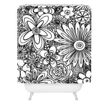 Madart Inc. All Over Flowers Black White Shower Curtain