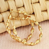 0.9mm 18K Yellow Gold Spiral Earring Hoops New Fashion 4.1x4cm = 1705617156