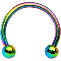 16 Gauge Rainbow Titanium Horseshoe Circular Barbell 3/8"