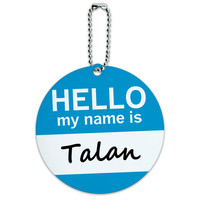 Talan Hello My Name Is Round ID Card Luggage Tag