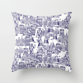 Doctor Who Toile de Jouy | 'Walking Doodle' | Blue Throw Pillow by Sharon Turner