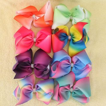 "8pcs/lot 8"" Big Rainbow Ribbon Bows With Alligator Clips Hairgrips Rhinestone Jumbo Hair Bows For Girls Kids Hair Accessories"