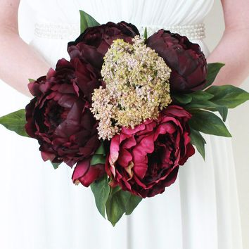 "Silk Peony Bouquet in Wine and Burgundy - 12"" Tall"