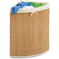 Honey Can Do Wicker Corner Hamper with Liner - Walmart.com