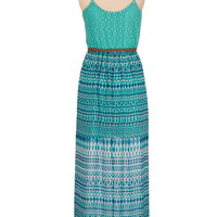 Belted lace top printed chiffon maxi dress