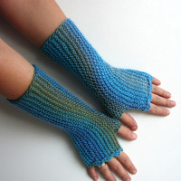 Blue fingerless gloves, light blue and turquoise stripes, texting gloves, seamless handknit soft armwarmers, office texting gloves
