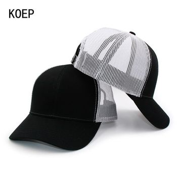 Trendy Winter Jacket KOEP New Type Casual Solid Cotton Truck Cap For Women Men Black White Summer Baseball Cap Cool Mesh Snapback Dad Hats  Ship AT_92_12