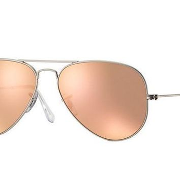ESB8UH Ray Ban Aviator Sunglass Matte Silver Rose Gold Mirrored RB 3025 019/Z2
