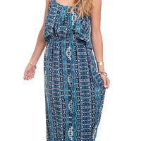 Baja Batik Printed Overlay Maxi Dress