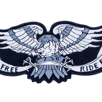 Live Free Ride Free Silver Eagle Patch Leather Vest Jacket Large Back Patch