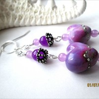 Purple Lampwork Silver Laced Heart Bead Purple Jade Sterling Earrings | specialtivity - Jewelry on ArtFire