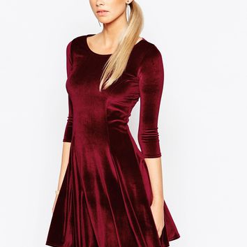 Boohoo Long Sleeve Velvet Skater Dress