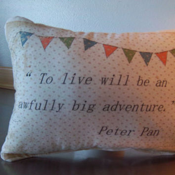Peter Pan pillow book throw pillow baby room cushion gender neutral baby gift