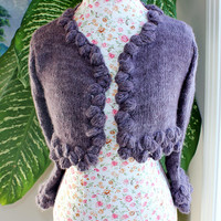 Ready to ship - 100% Angora Rabbit Handmade Knit Dusky Mauve Bolero, Inspired by Kate Middleton Sweater crop, Evening Shrug Will fit S-M-L