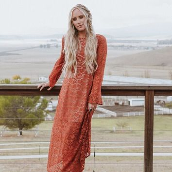 Meadow Charm Floral Lace Maxi Dress - Burnt Orange