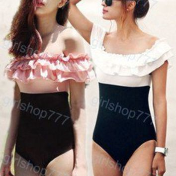 Sexy Ruffle Layered One Piece Swimsuit off Shoulder High Waist Bathing Suit W031