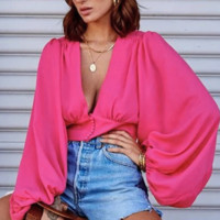 Hot style sells sexy deep V collar lantern sleeve short top for women