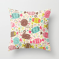 Candy Throw Pillow by Pink Berry Patterns