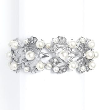 Bold Pearl Vine Wedding Stretch Bracelet in Ivory