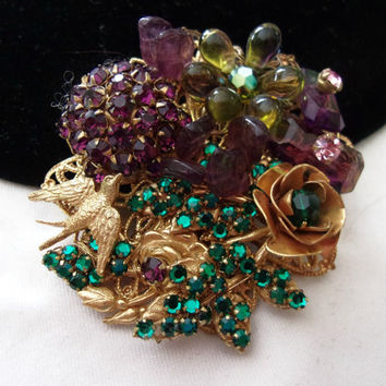 Miriam Haskell Glass Bead Brooch Bird Flower Purple Green Gold Plate Pin