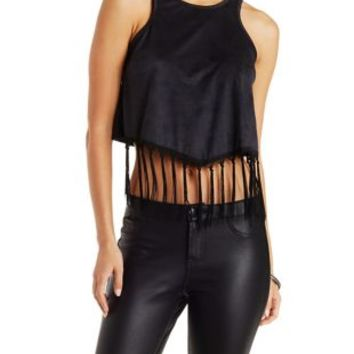 Black Faux Suede Tank with Fringed Hem by Charlotte Russe
