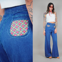 WOVEN pocket vtg 70's HIGH WAIST bell bottom flared Jeans hippie bohemian basket weave xs/sm