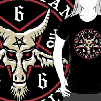 Hail Satan Baphomet Inverted Pentagram & Satanic Cross T-Shirt. Goth tee shirts clothing 666 pagan tees & hoodies.